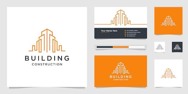 線で建物のデザインロゴ。建設、アパート、都市の建物、建築家。