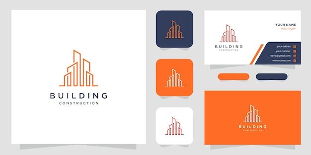 Логотипы дизайна здания с линиями. строительство, квартира, городское строительство и архитектор.