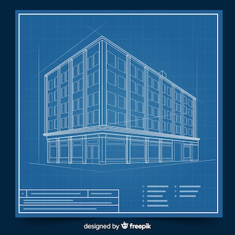 Building design with 3d blueprint concept