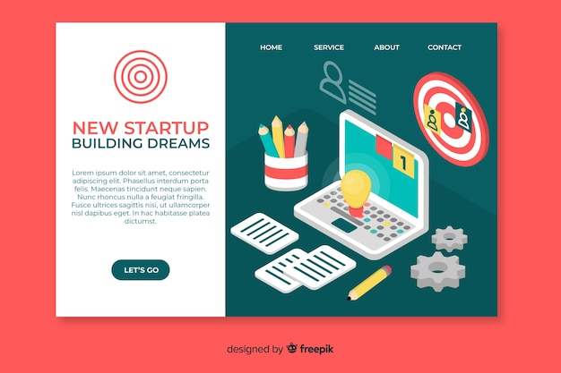 Building dreams startup landing page