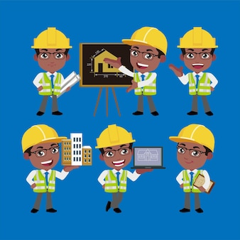 さまざまなポーズの建築エンジニア