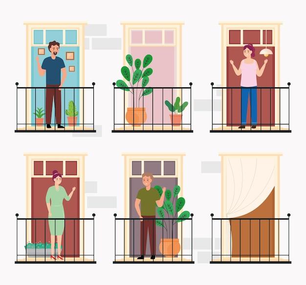 사람들과 건물 외관