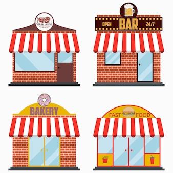건물 외관 세트 스테이크 하우스 및 그릴 고기 레스토랑 맥주 바 베이커리 가게 패스트 푸드