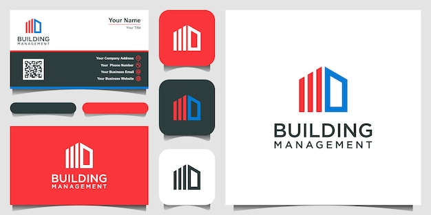 Building finance logo template. logo and business card design