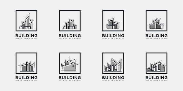 Building in a frame logo concept collections