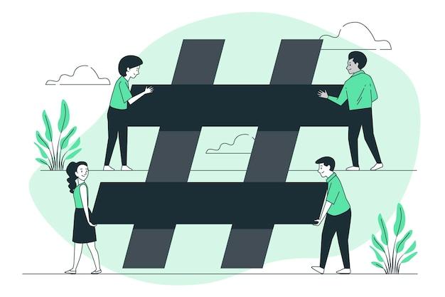 Illustrazione del concetto di hashtag di costruzione
