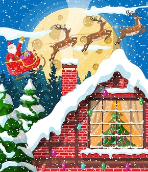Building in holiday ornament illustration