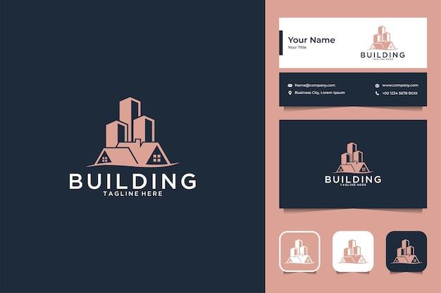 건물 로고 디자인과 명함으로 집을 짓다 프리미엄 벡터