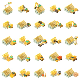 Building house icon set