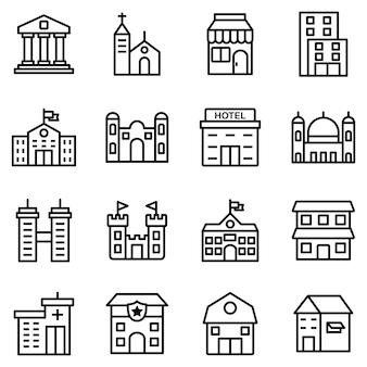 Building icon pack, with outline icon style