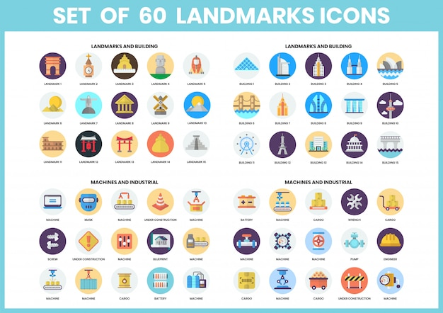 Building icons set for business