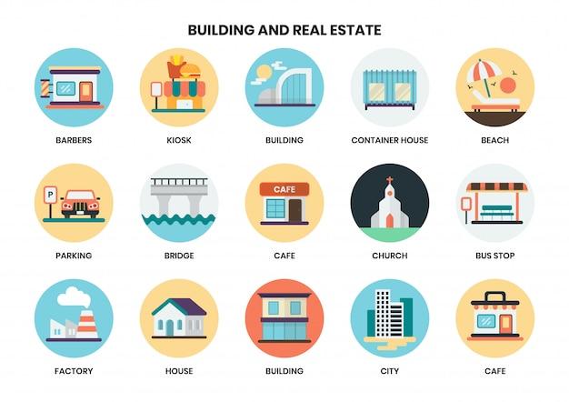 ビジネスのための建物のアイコンを設定