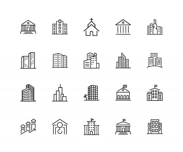 ビルドアイコン。 20行のアイコンのセット。教会、博物館、銀行。アーキテクチャのコンセプト。