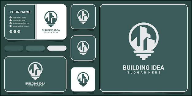 Building idea lamp logo vector template design. factory industry building line with lamp for ideas logo vector icon design