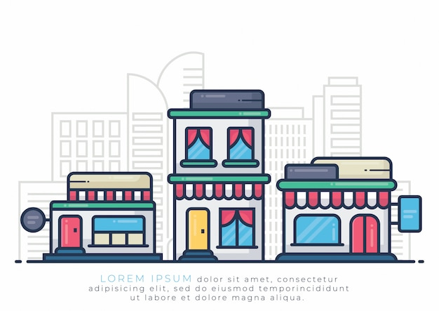 Building illustration for hotel and store