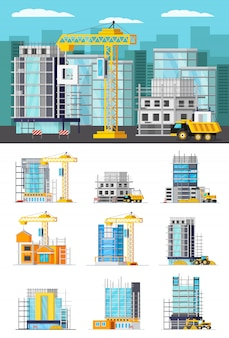 Building illustration and set of isolated buildings