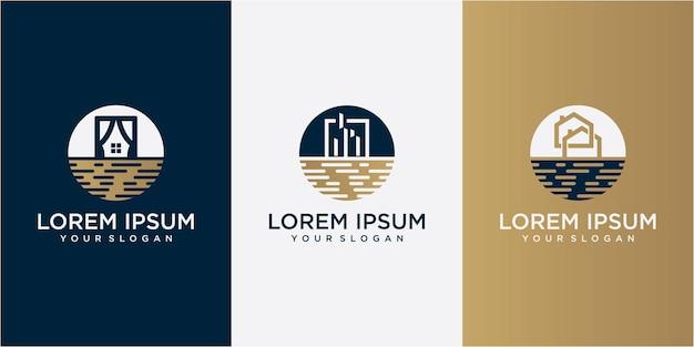 원형 로고 디자인 서식 파일에 건물. 건물 로고 디자인입니다. 물 건물 로고 디자인 컨셉