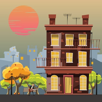 Building in garden vector illustration