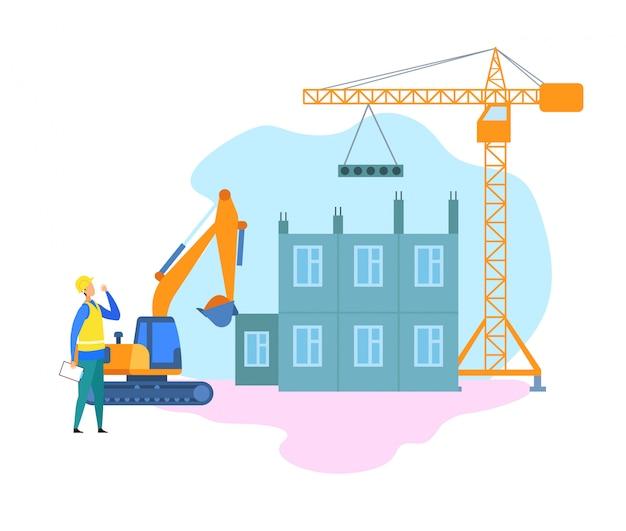Building industry, construction site illustration