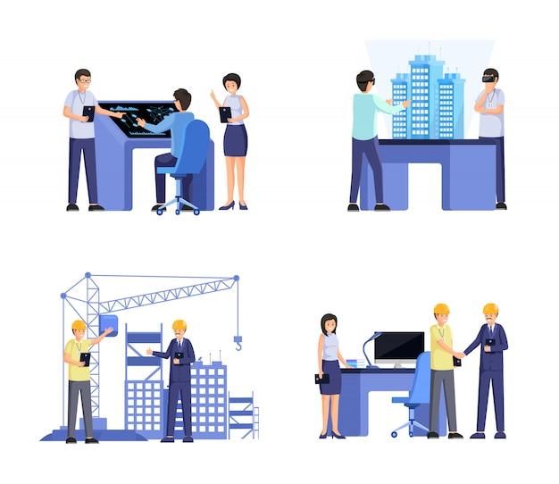 Building industry flat vector illustrations set