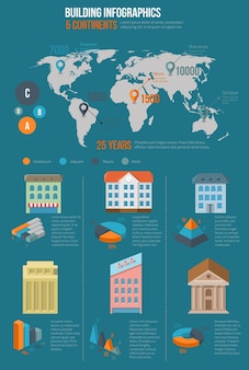 Building infographics. map information, world chart and graphic, infochart industrial