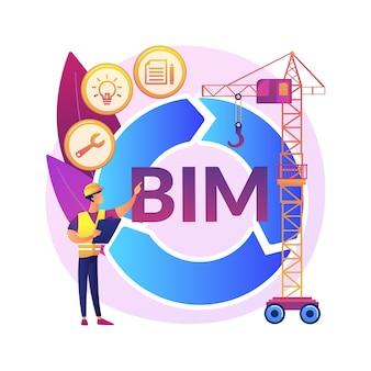 Building information modellazione concetto astratto illustrazione. costruzione collaborativa, gestione del progetto di costruzione, processo basato su modelli 3d, informazioni operative