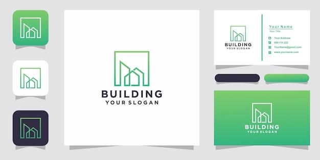 라인 아트 스타일의 로고와 명함으로 영감을주는 건물
