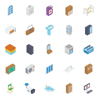 Building interior isometric icons pack
