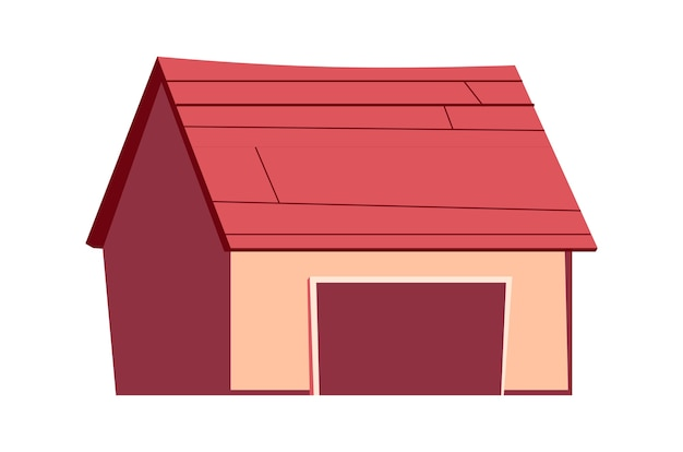 Building isolated, garage, shed cartoon illustration