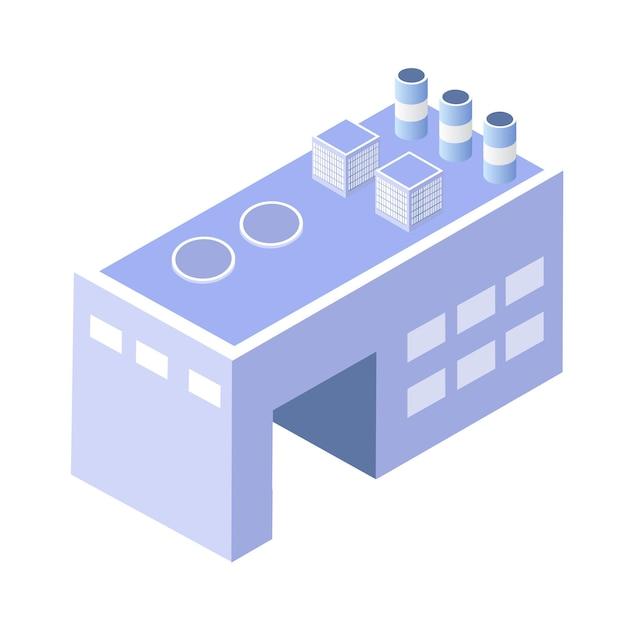 都市建設の近代建築の等角3d次元工場産業を構築します。