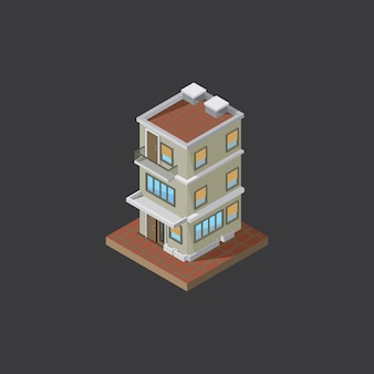 Building isometric on dark gray background