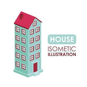 Building isometric isolated icon design