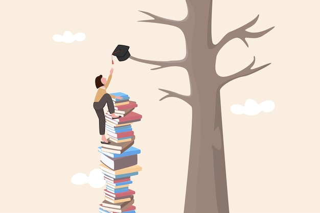 成功の機会とキャリアの成長のための知識とスキルを構築し、自発性と創造性を生み出すのを助け、卒業した女性は本の山を登り、木にぶら下がっている鏝板に手を伸ばしてみてください
