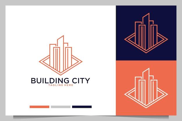 도시 로고 디자인으로 라인 아트 구축