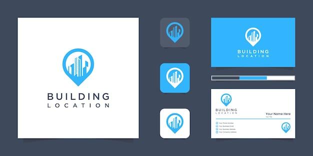 Логотип местоположения здания и визитная карточка