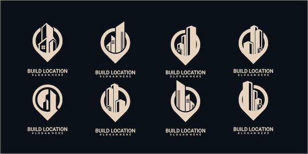 建物の場所のロゴデザインのインスピレーション。場所の建物のロゴデザインセット。建物のロゴデザインテンプレートのセット