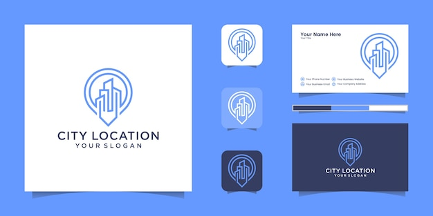 Building location logo line art style and business card