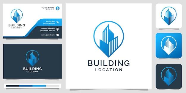 Логотип местоположения здания с элементом дизайна точки строителя в стиле line art и шаблоном визитной карточки premium векторы
