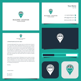 Местоположение здания или вилла или логотип отеля в концепции карт с визитной карточкой