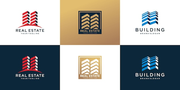 Building logo bundle with creative abstract style premium vector