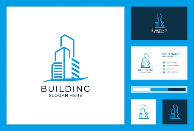 Building logo and business card design. logos can be used for architecture, realestate, invesment, landing, boarding house, hotel, villa.
