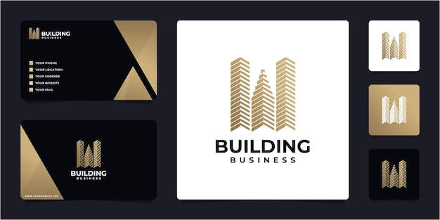 Building logo and business card design template