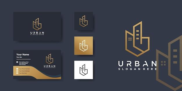 Building logo and business card design with unique concept premium vector
