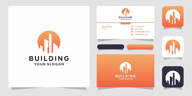 Building logo and business card Premium Vector