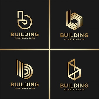 Building logo collection, golden, modern, concept, gradient, real estate, premium