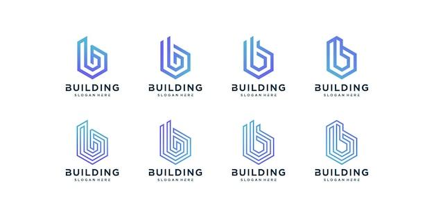 Коллекция логотипов здания, модерн, концепция, градиент, недвижимость, premium векторы