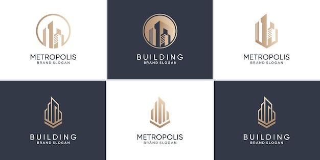 Building logo collection with modern unique concept premium vector