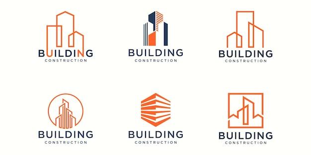 Набор иконок дизайн логотипа здания. городское здание аннотация для вдохновения дизайн логотипа.
