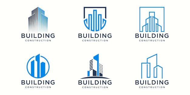 Building logo design icons set. city building abstract for logo design inspiration.