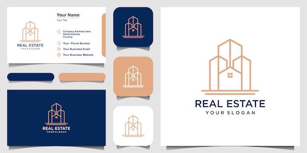 Building logo design in line art.  logo design and business card set